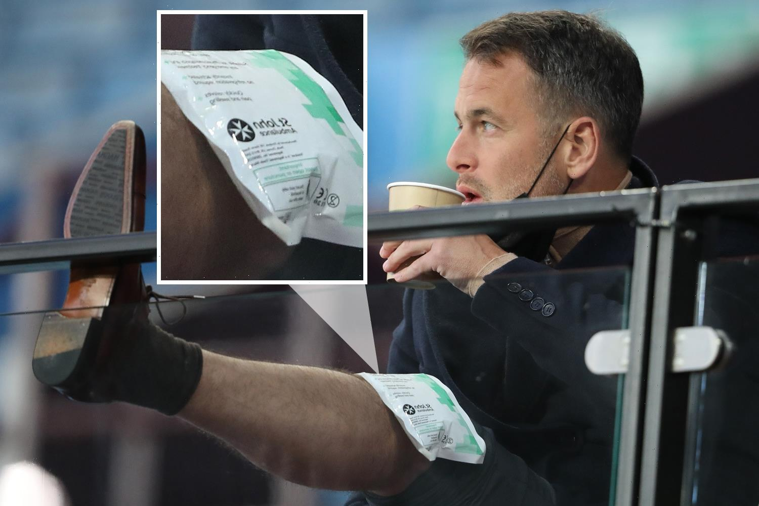 Joe Cole appears to suffer knee injury in the COMMENTARY BOX as BT Sports pundit wears ice pack on knee