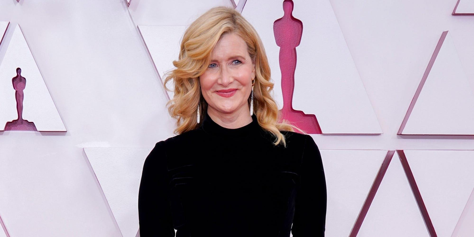 Laura Dern Wore a Black Turtleneck and a Full Feather Skirt to the Oscars