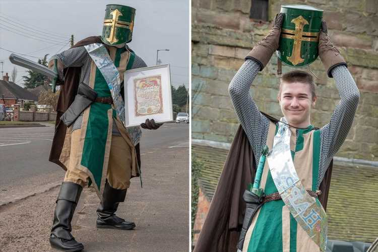 Medieval-mad teen is 'knighted' by locals after wearing armour every day for a year