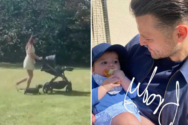 Michelle Keegan is on 'auntie duties' while Mark Wright cuddles their nephew Brody on a family day out
