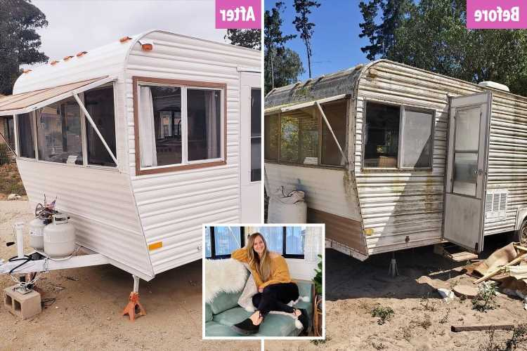 Mum totally transforms grim, mouldy caravan she got for FREE on a budget – and now it's so glam she rents it out