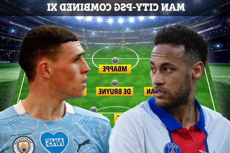 PSG vs Man City's mouthwatering combined XI includes Neymar, Mbappe, Foden and De Bruyne ahead of Champions League clash