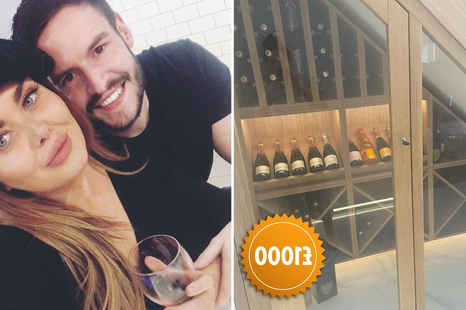 Scarlett Moffatt shows off huge new champagne cellar in new home crammed with almost £1k worth of booze