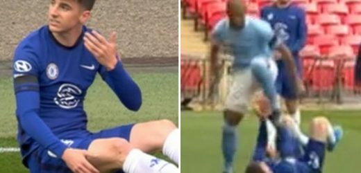 Watch Fernandinho escape punishment despite appearing to aim studs at Mason Mount's face in Man City's clash vs Chelsea
