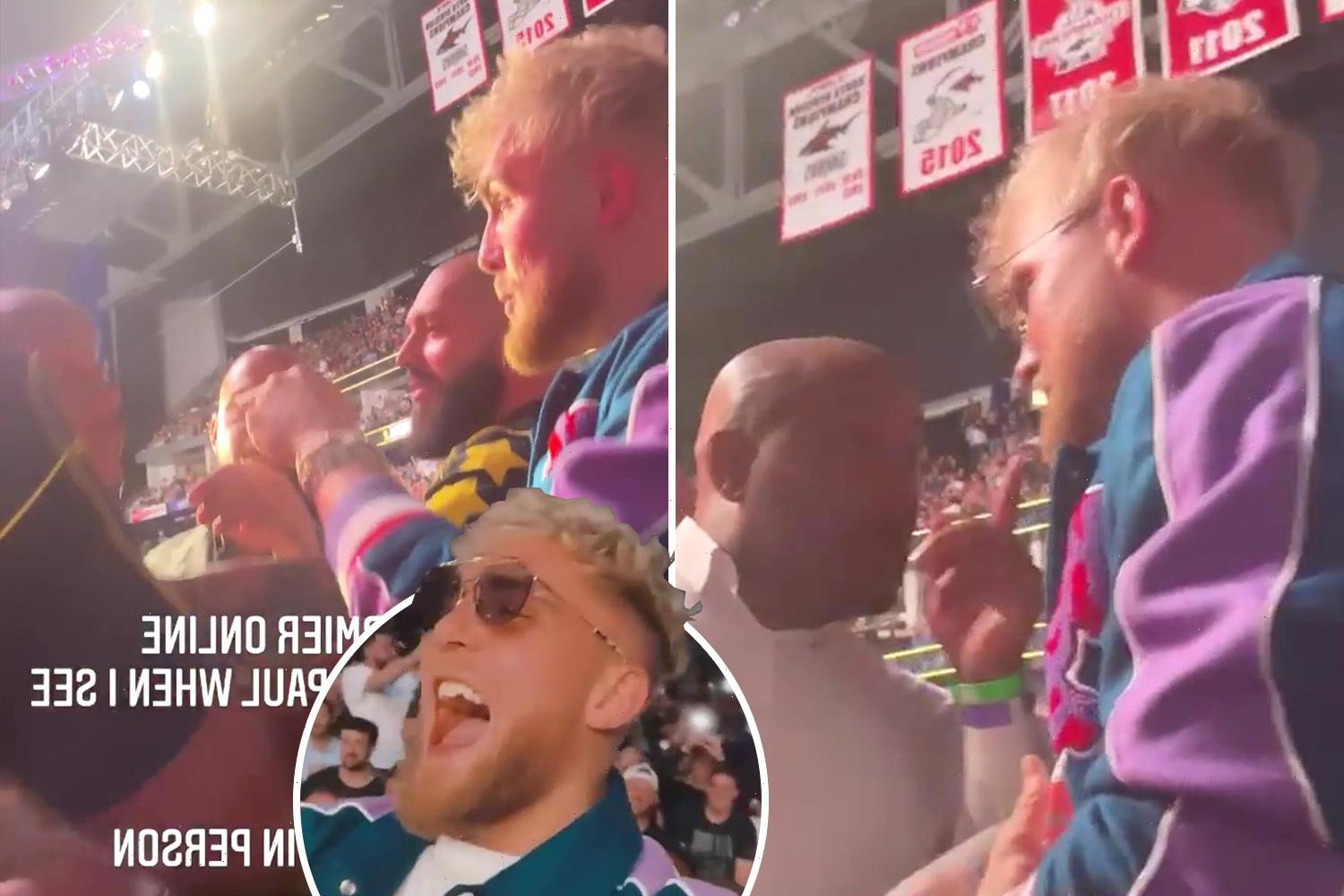 Watch Jake Paul square up to Daniel Cormier at UFC 261 and give entire crowd middle finger in response to X-rated chant