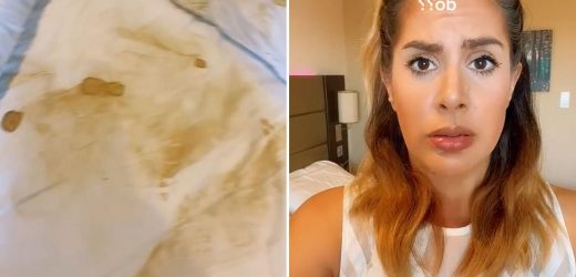 Woman mortified after she fake tans in a hotel room and leaves it looking like a crime scene