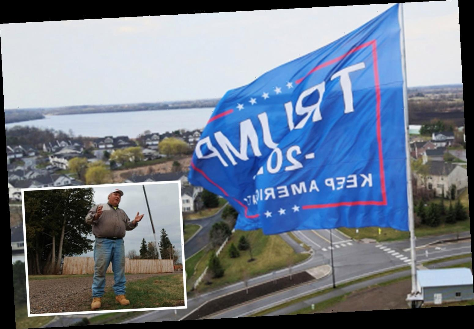 Trump supporter is 'willing to go to be fined and go to JAIL' for massive 2020 flag that is violating city rules