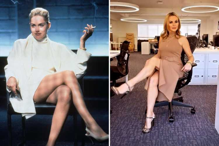 Amanda Holden channels her inner Sharon Stone as she shows off her legs in stunning dress