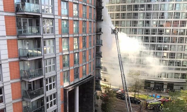 Blaze rips through tower block flat 'with Grenfell-style cladding'