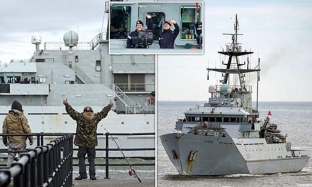 HMS Severn joins Tamar after gunboats saw off angry French skippers
