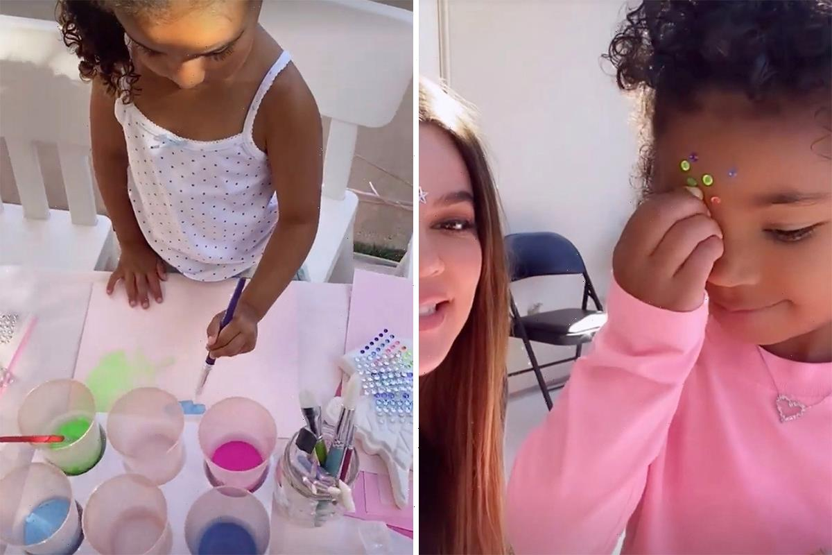Khloe Kardashian hosts paint party for daughter True and her cousins as Tristan Thompson accused of 'cheating'