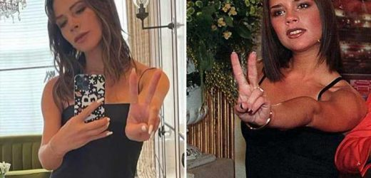 Victoria Beckham goes back to her Posh Spice roots as she poses in a black mini dress