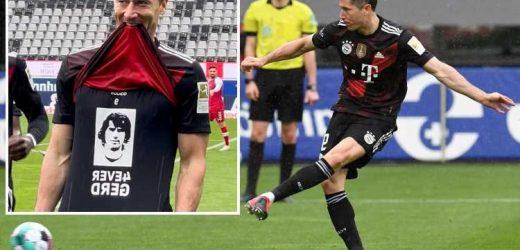 Watch Robert Lewandowski get mid-game guard of honour for 40TH Bundesliga strike of season… before missing OPEN GOAL