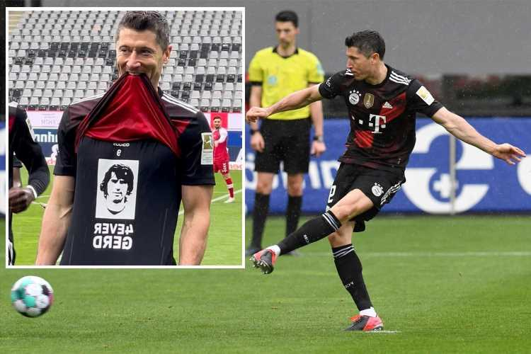 Watch Robert Lewandowski get mid-game guard of honour for 40TH Bundesliga strike of season… before missing OPEN GOAL