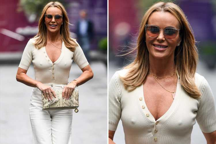 Amanda Holden looks incredible in all-white outfit as she braves the rain in London