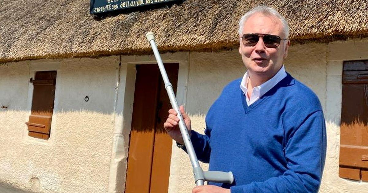 Eamonn Holmes poses with crutches as he admits he's 'dependent' on them