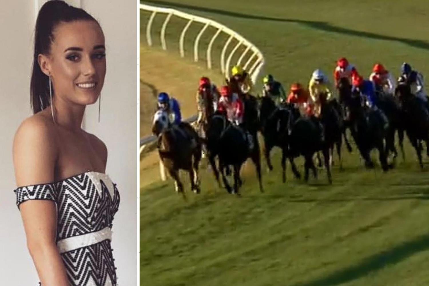 Female jockey Laura Lafferty, 22, rushed to hospital after leading horse crashes through barrier and rolls on top of her