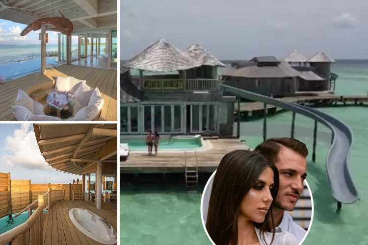 Inside Arsenal ace Cedric Soares and stunning wife Filipa's £3,500-a-night Maldives holiday with slide from villa to sea