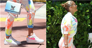 Jennifer Lopez Styled Her Rainbow Tie-Dye Jumpsuit With Multicolored Neon Nikes