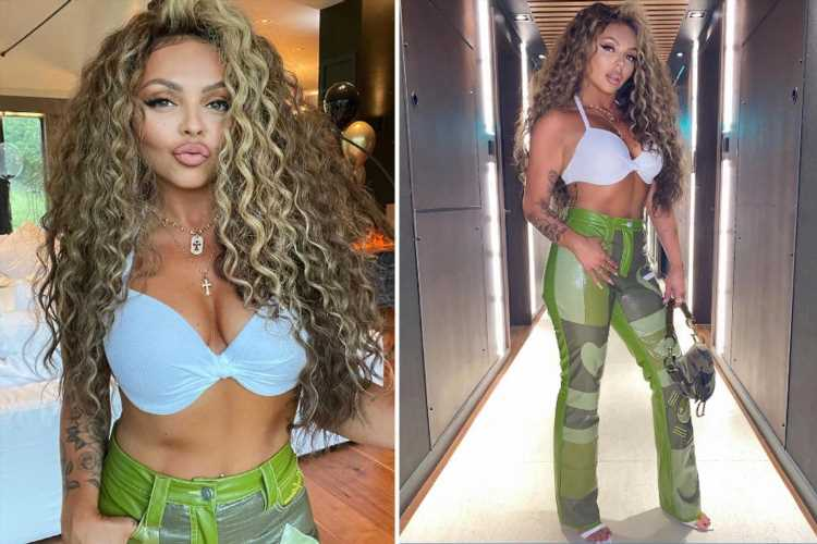 Jesy Nelson flashes her abs as she poses in tight green trousers and halterneck bikini top