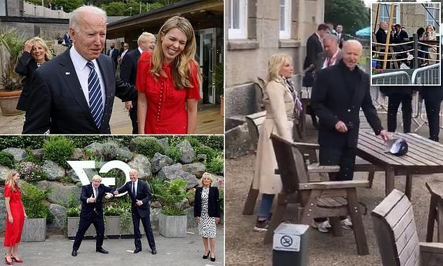 Jon Sopel and crew are kicked off their table by Joe and Jill Biden