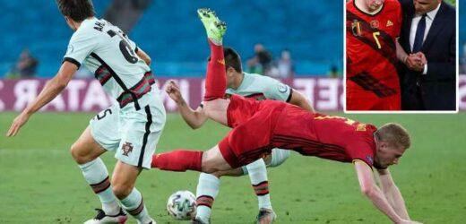 Kevin De Bruyne forced off injured just 90 seconds into Belgium vs Portugal second-half after brutal Palhinha tackle
