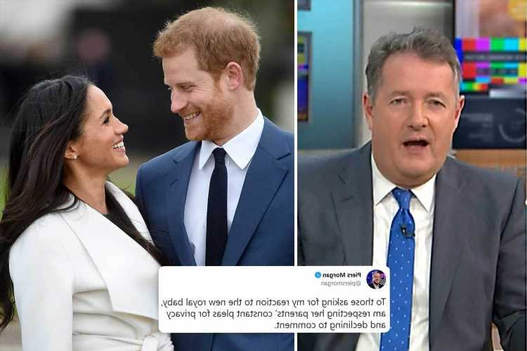 Piers Morgan 'declines to comment' on Meghan and Harry's baby news as he's 'respecting their constant pleas for privacy'