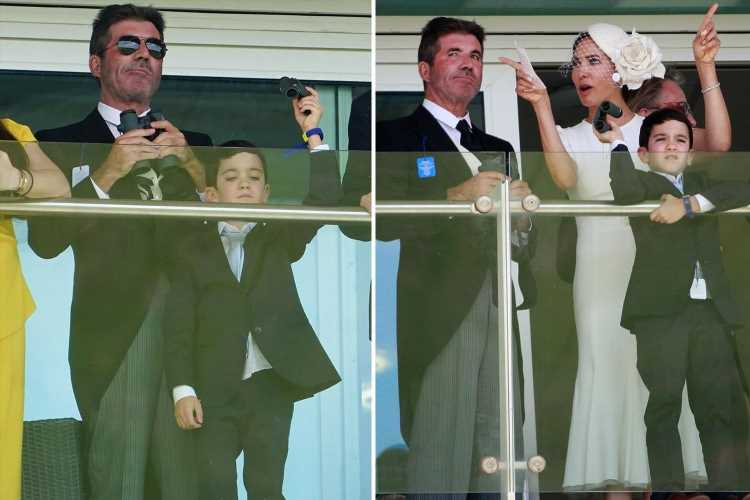 Simon Cowell reunites with Piers Morgan at Epsom races as he enjoys day out with his mini-me son Eric