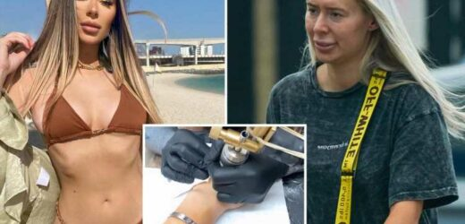 Towie's Demi Sims looks completely different as she goes makeup-free to get her hand tattooed