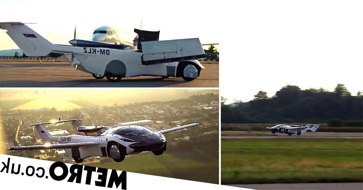 Watch the 'AirCar' fly between airports, transform, then drive off down the road