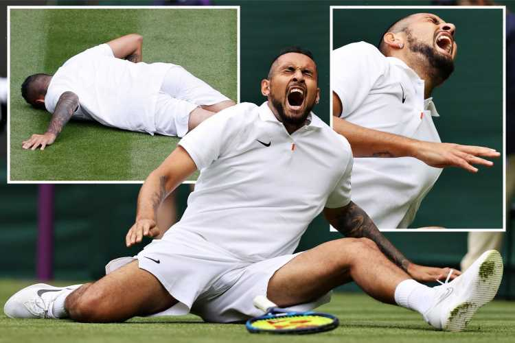 Wimbledon 2021: Nick Kyrgios writhes in pain after doing splits in nasty fall during fifth set of Ugo Humbert thriller