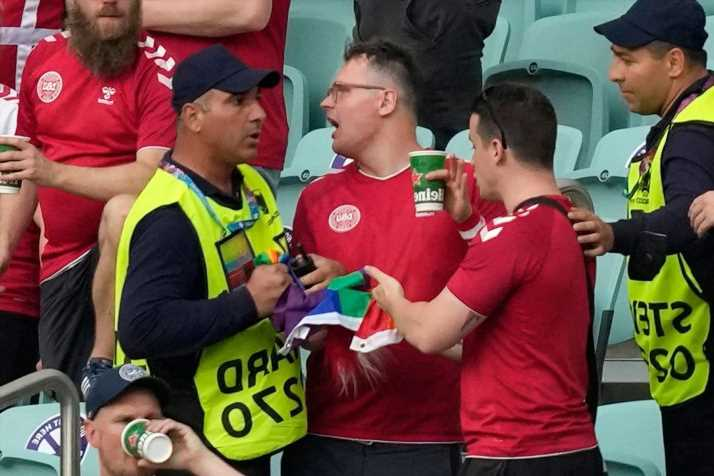 Denmark fan had rainbow flag 'pulled out of my hands' by security in Baku at Euro 2020 as Uefa launch investigation