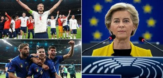 EU chief Ursula von der Leyen backs ITALY to win the Euros final