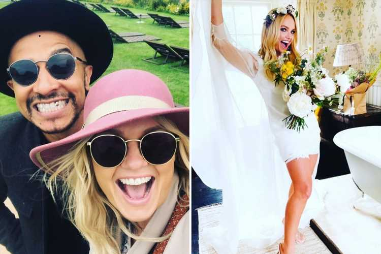 Emma Bunton gives fans a look at her bridal minidress and garter in new wedding day photo