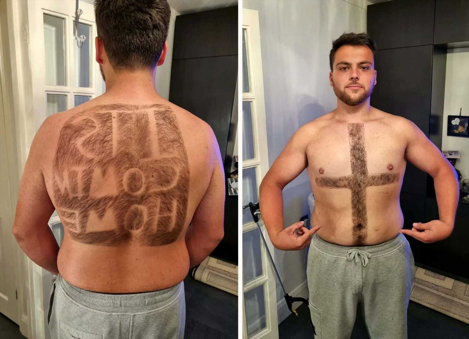 England fan shaves 'It's Coming Home' into his back hair and St George's cross on chest