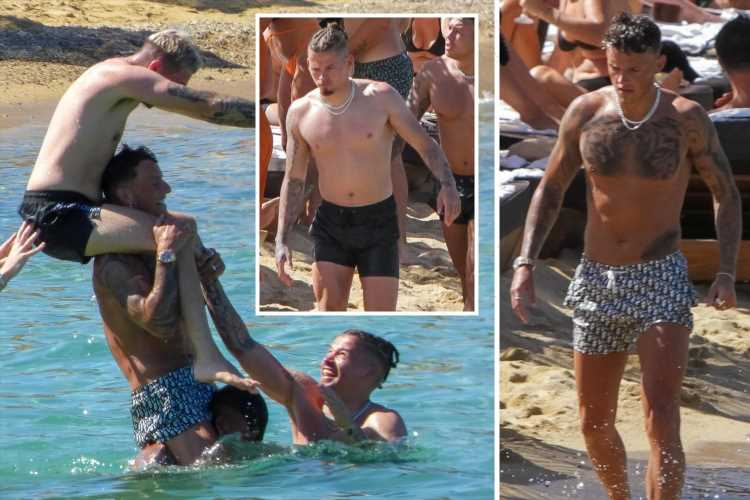 England heroes Kalvin Phillips and Ben White mess around in sea while enjoying well-earned holiday away in Mykonos