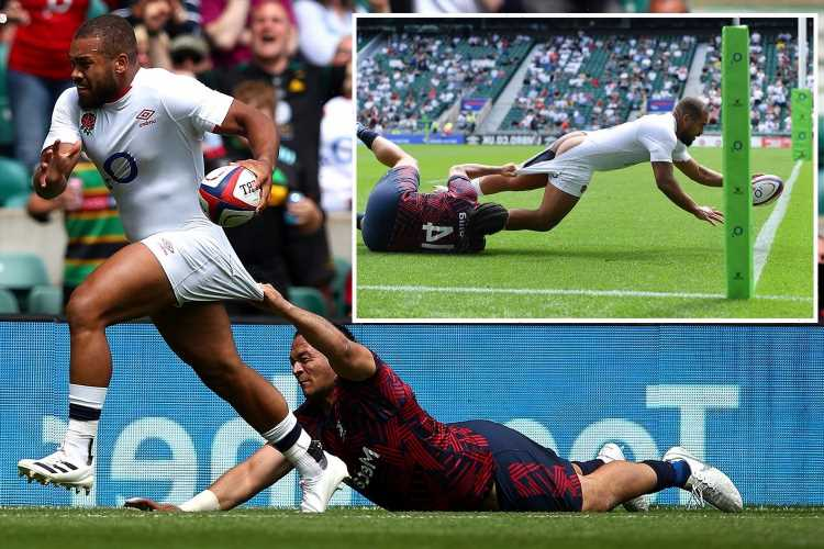England rugby hero Ollie Lawrence scores 'cheeky try' with his bum showing after shorts are ripped by USA star