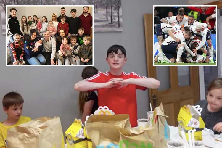 Family of 24, the Radfords, throw their support behind the England squad as they tuck into McDonald's to watch the game