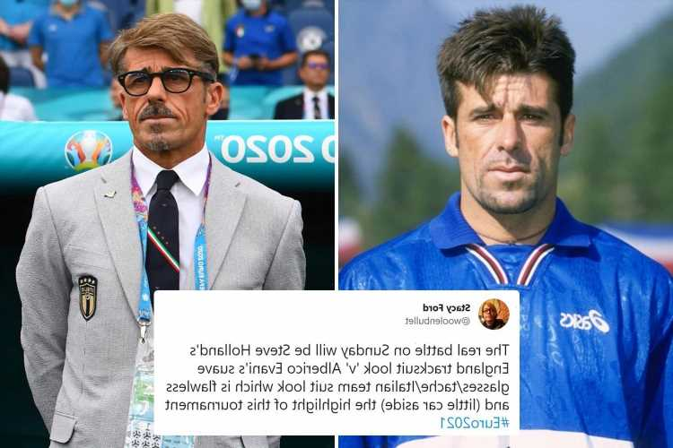 Italy coach with moustache and glasses is assistant Alberico Evani, an AC Milan legend who has gone viral at Euro 2020