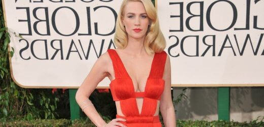 January Jones shows off abs as she pokes fun at her 'uneven boobtape' in topless selfie