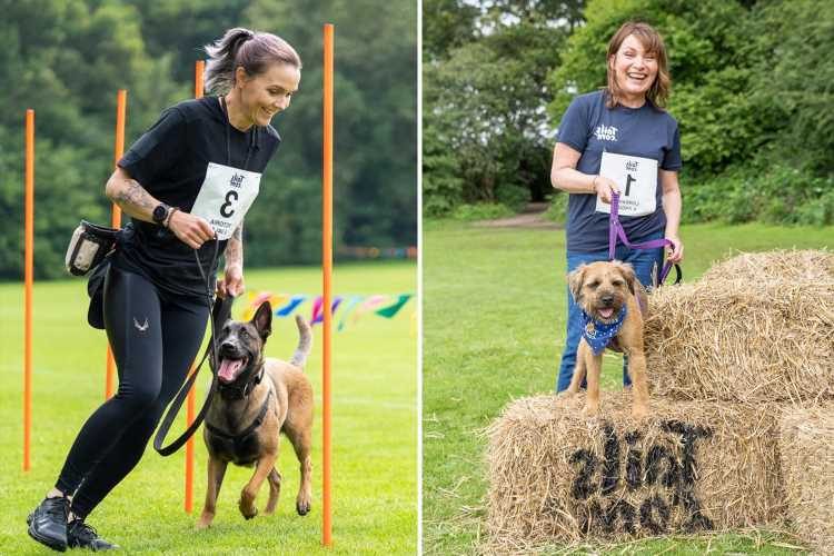 Lorraine Kelly and Victoria Pendleton join 140 dogs at first ever Bark Run agility course for pooches