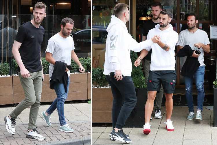 Man Utd stars including Bruno Fernandes and David De Gea meet up for swanky Italian lunch after Preston clash postponed