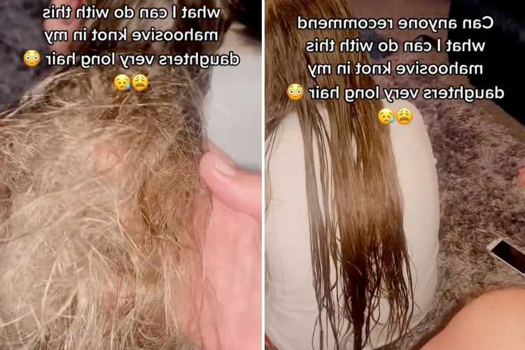Mum reveals huge knot in daughter's hair – and she tries using SEVEN bottles of conditioner to detangle it