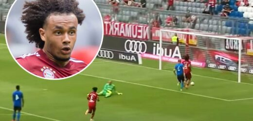Watch as Bayern star Zirkzee rounds keeper but misses open goal from just inches in incredible pre-season gaffe v Ajax