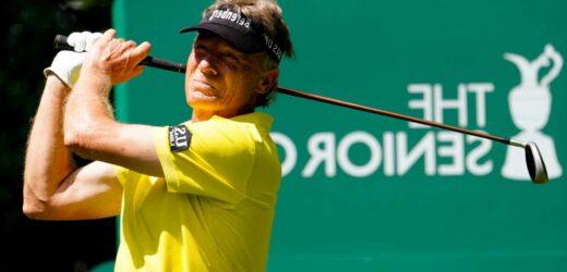 Watch golf legend Bernhard Langer, aged 63, smash massive drive for 350 yards at Senior Open