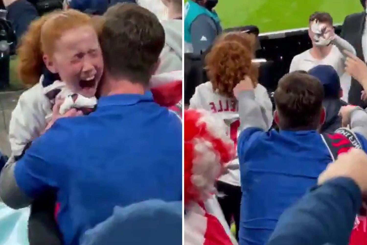 Watch heartwarming moment Mason Mount goes into crowd to give starstruck girl his England shirt after win over Denmark
