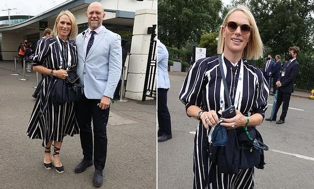 Zara Tindall enjoys a day off from parenting duties at Wimbledon