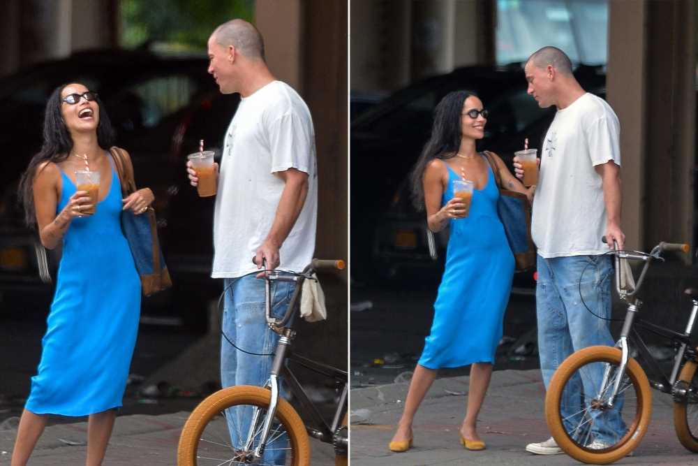 Channing Tatum, Zoë  Kravitz and another of his bikes get cozy in NYC