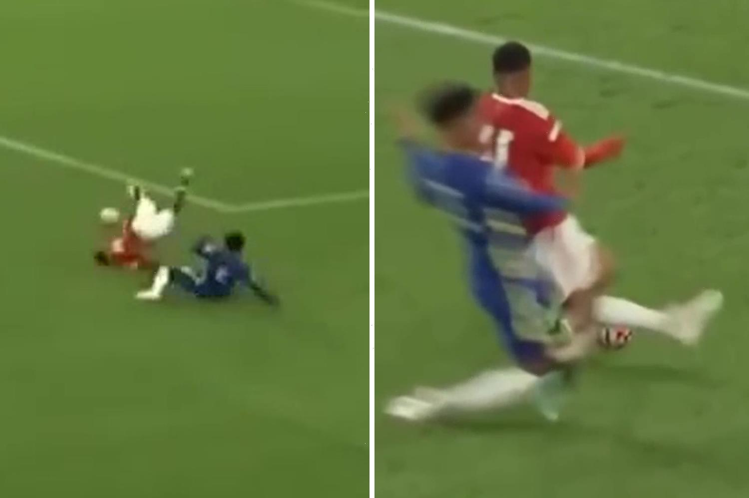 Chelsea youngster Josh Brooking sent off for horror tackle against Man Utd in Under-23s showdown