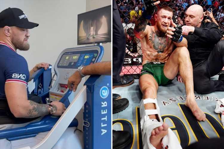 Conor McGregor celebrates 'momentous day' as he takes first steps since horror leg break against Poirier seven weeks ago